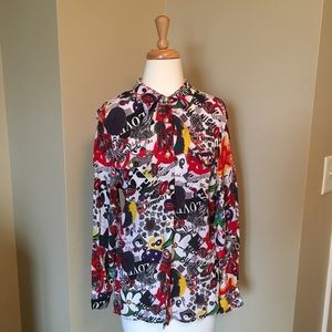 💋 80s 90s RARE VINTAGE MOSCHINO BLOUSE BUTTON UP